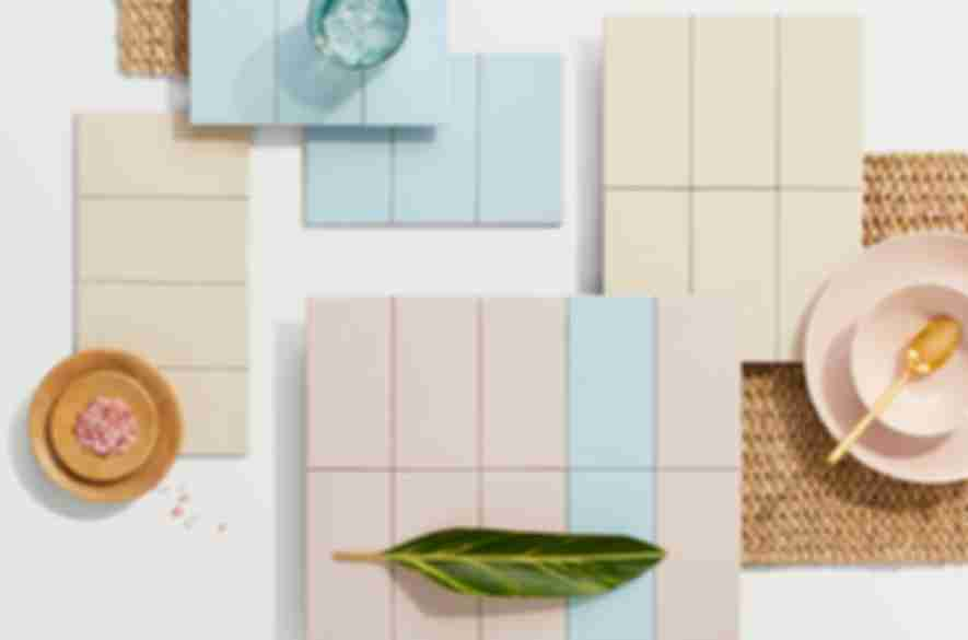 Pastel subway tile.