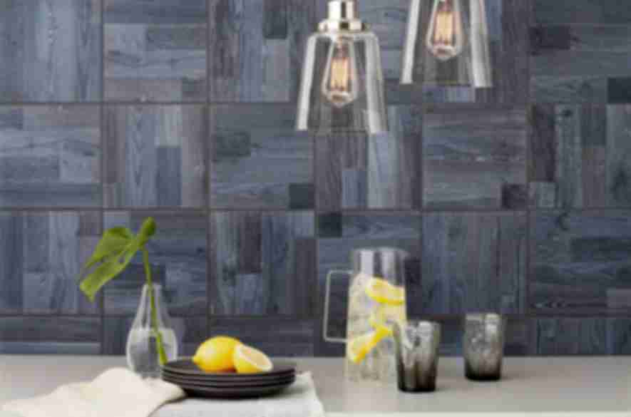 shades of dark blue wall tiles.