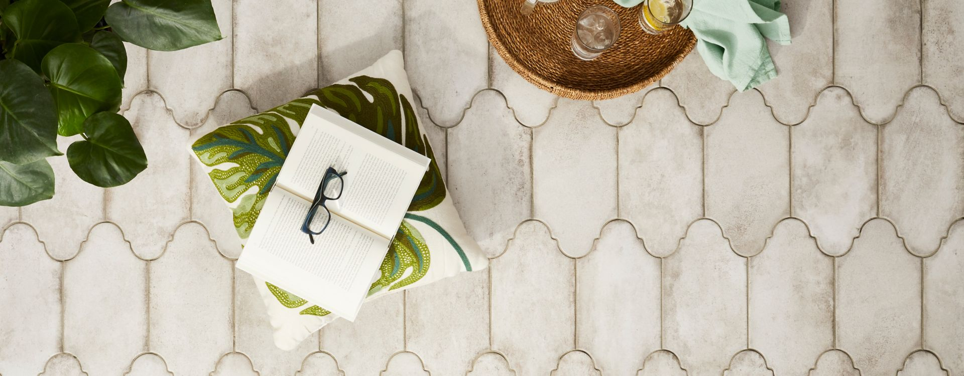 Cream outdoor patio tile.