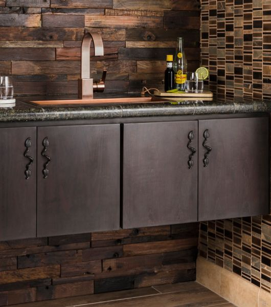 Rustic Reclaimed Wood Tile Bathroom
