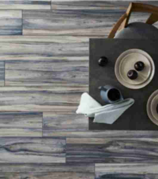 blue wood look tile dining room