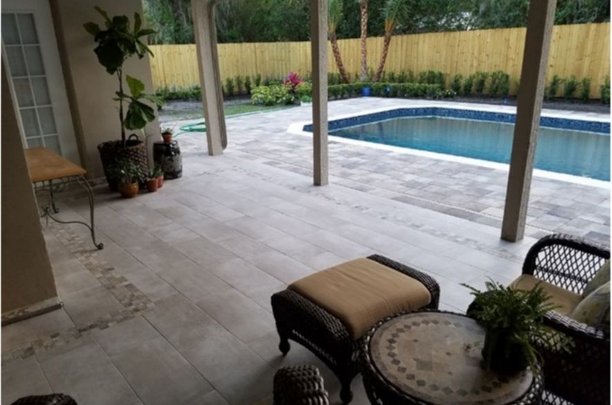 Mix and match tile patterns and styles to customize your perfect outdoor  pool deck. - Outdoor Tile Design Ideas The Tile Shop