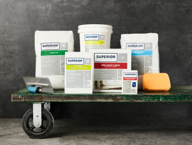 Utility cart loaded with Superior products.