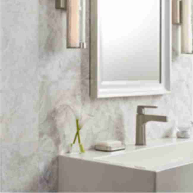 White and grey marble bathroom.