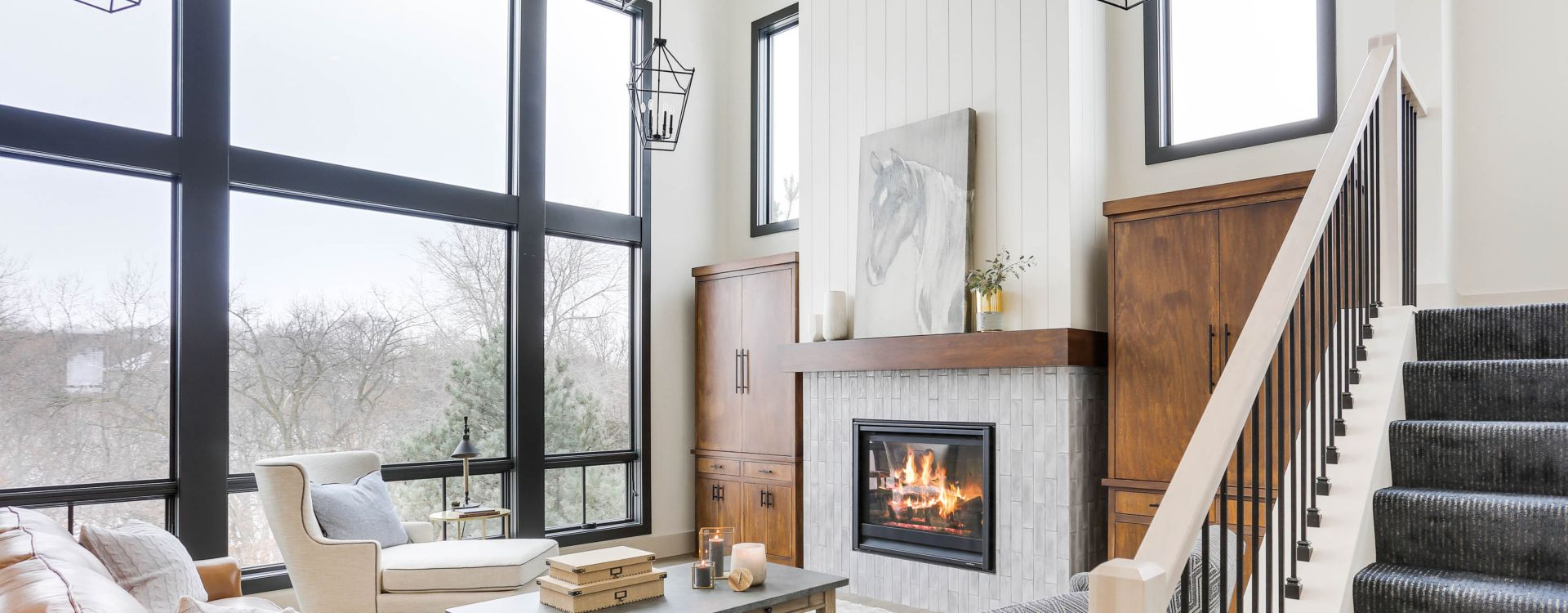 Vertical stack fireplace tile.