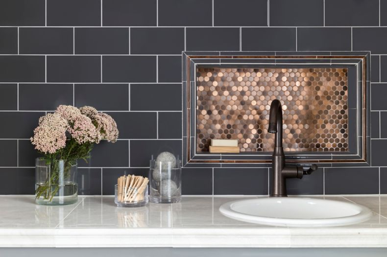 Black and Copper Tile Back-splash Kitchen