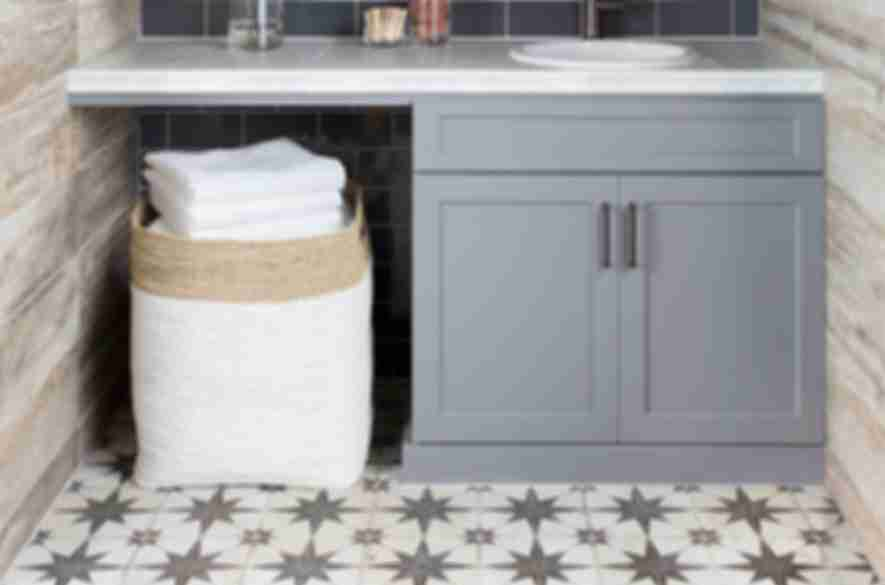 Tiled farmhouse laundry room.