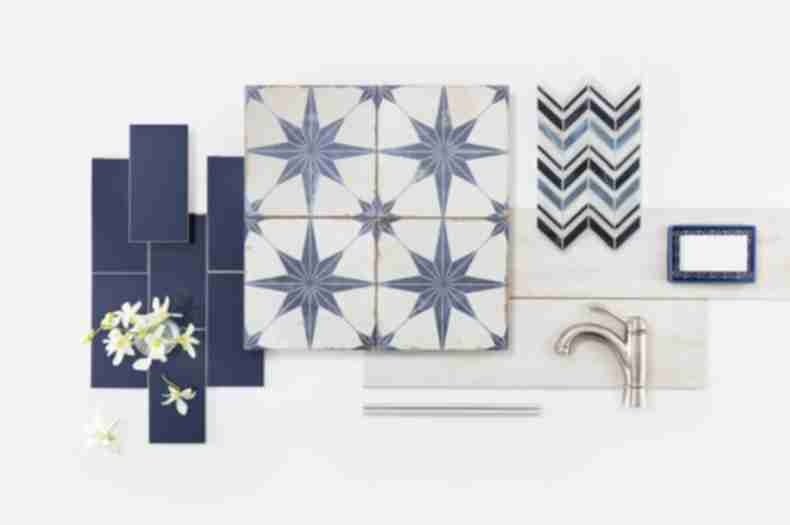 Star blue encaustic-look tile with an assortment of other blue and ivory tile.