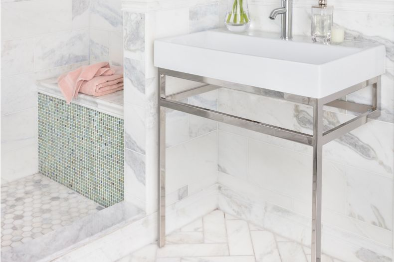 White Marble Tile Bathroom