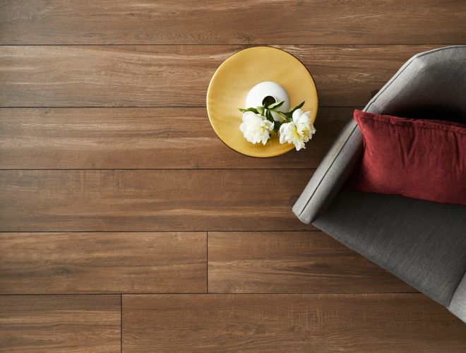 Large-format wood-look floor tile in living room