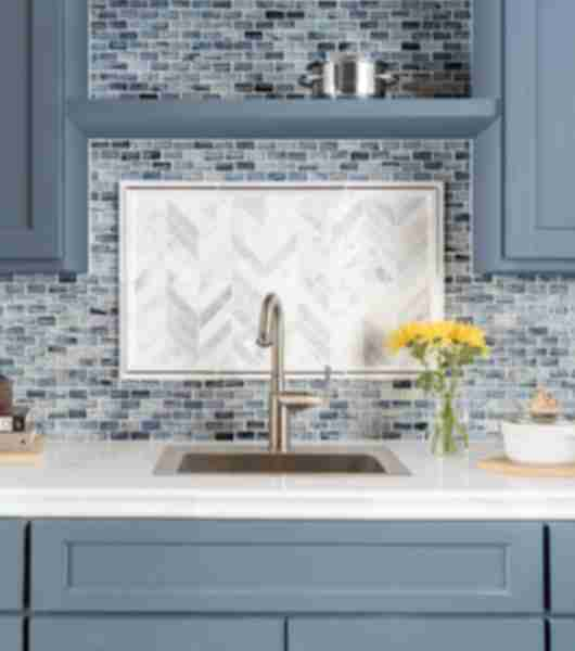 blue mosaic tile kitchen backsplash