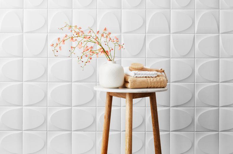 White Raised Patterened Wall Tile Modern Room