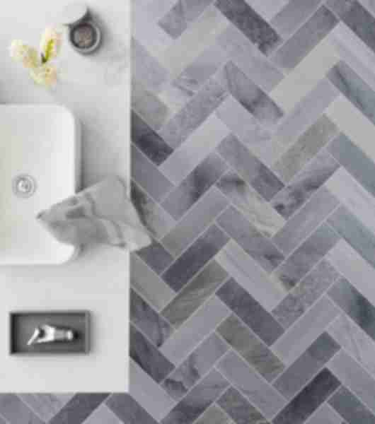 marble grey herringbone pattern bathroom tile