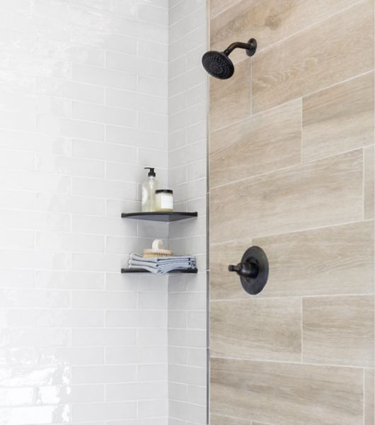 Light Brown Texture Faux Wood Retro Tile Shower Area