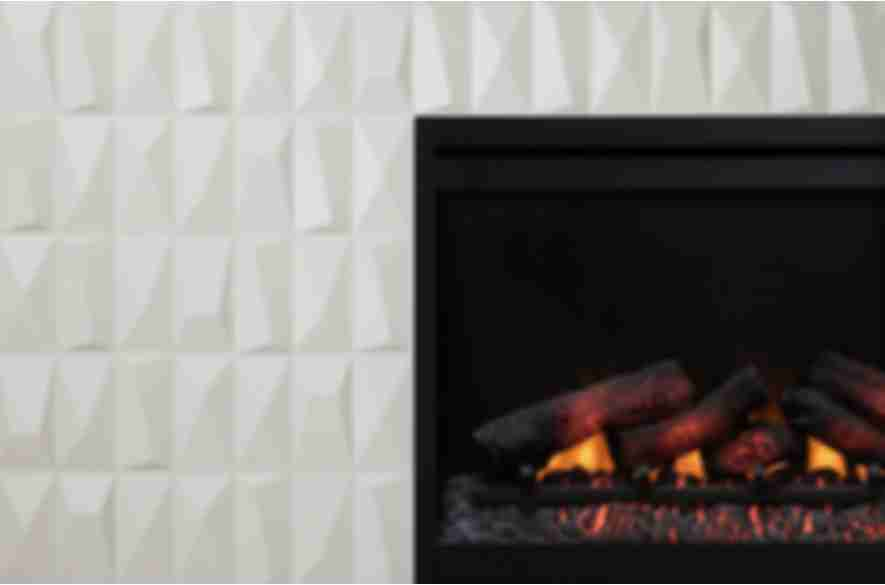 Sculptural wall tiled fireplace.
