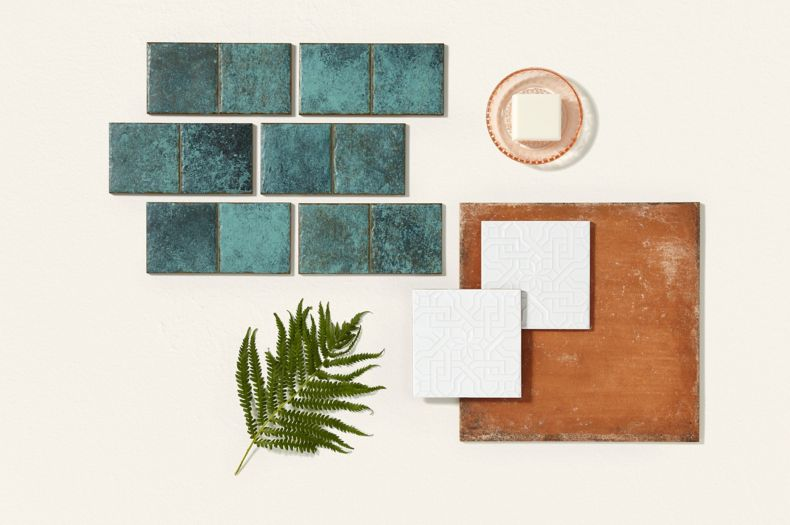 Turqoise Flat Lay Tile Montage with Rustic Brown Tile