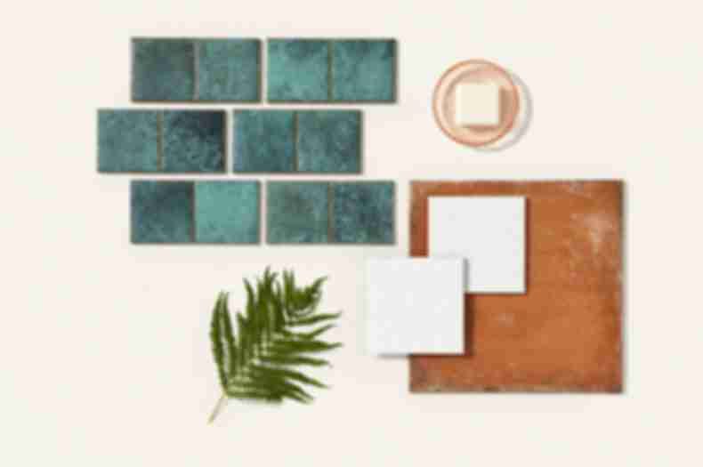 Turquoise tile, brown textured tile, and white patterned tile with Mediterranean style.