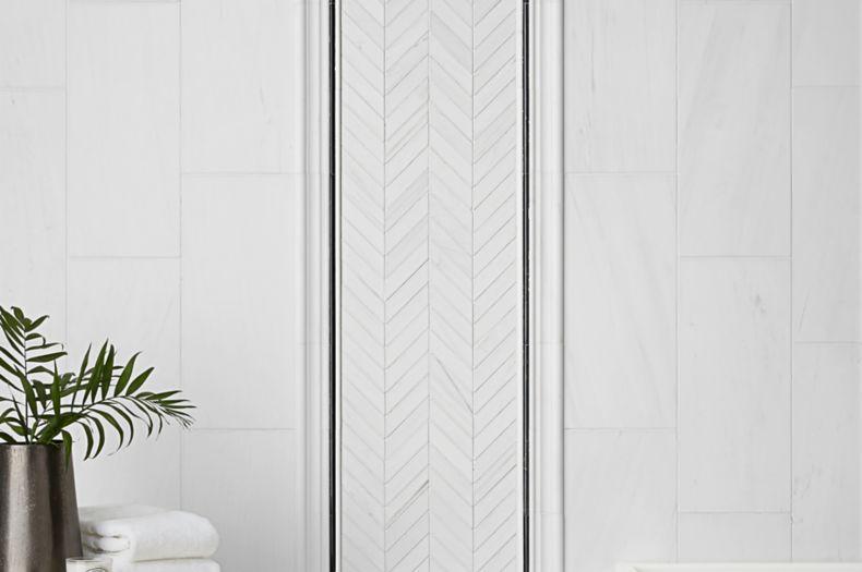 White Light Chevron Patterned Tile Laundry Room
