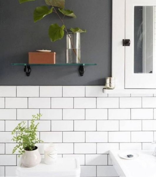 White Tile and Charcoal Grout Washroom Area
