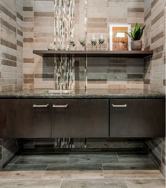Faux Wood Ceramic Rectangular Tile Wash Area