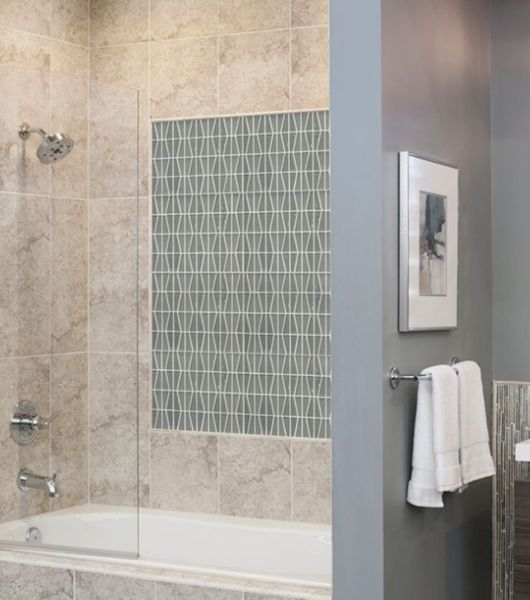 Green Glossy Frosted Shower Tile