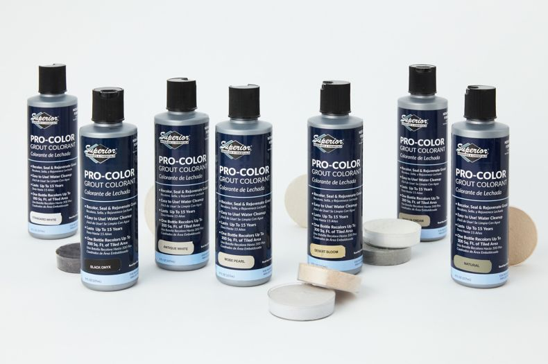 Bottles of Superior grout colorant.