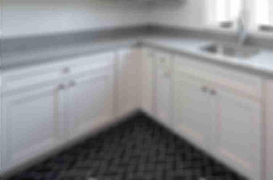 black floor tiles.