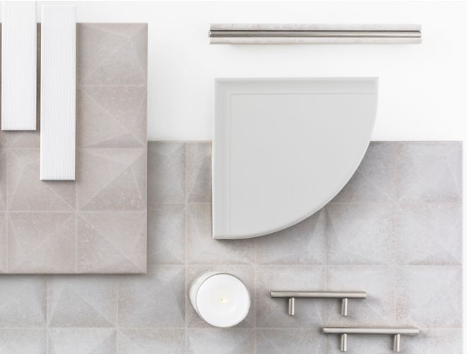 White and grey trim, fixtures, and tile.