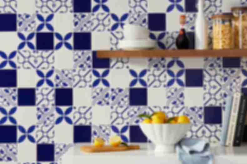 Blue Patterned Tile Kitchen