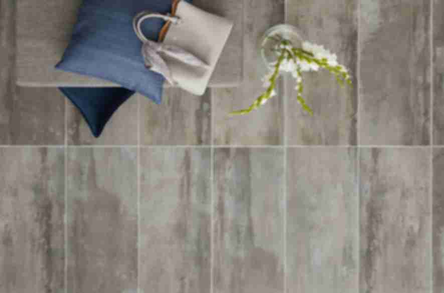 Grey and beige industrial floor tile.