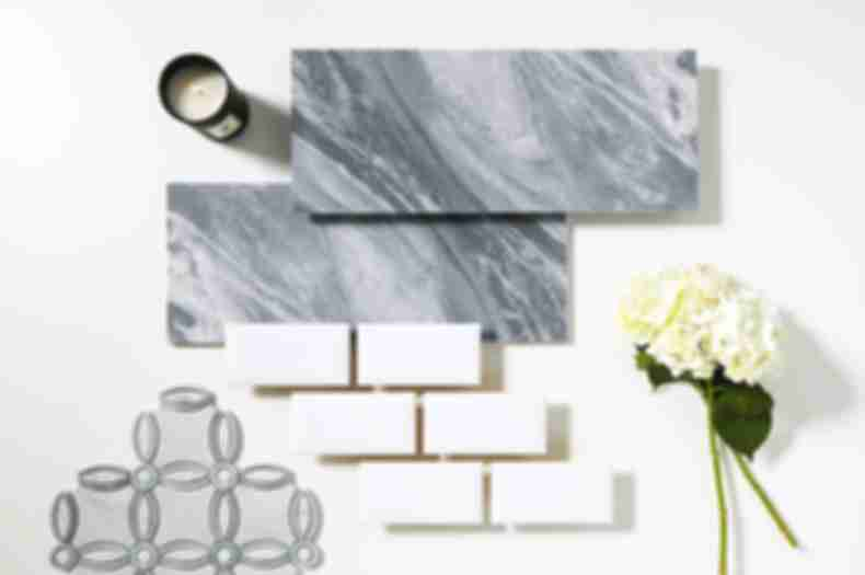 Grey marble with tile pairings.