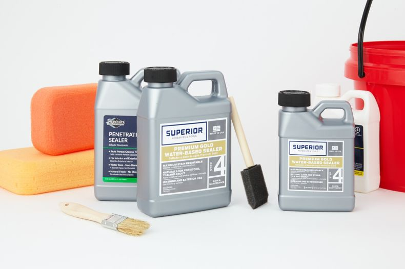Superior sealer products, sponges, and bucket.
