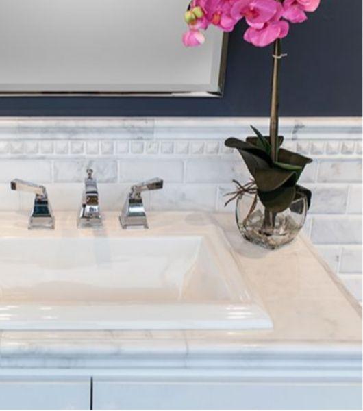 White Marble Tile Bathroom Wash Area