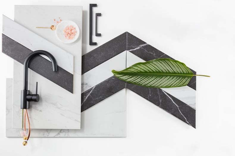 Black and White Marble Flat Lay Tile Kitchen Collage