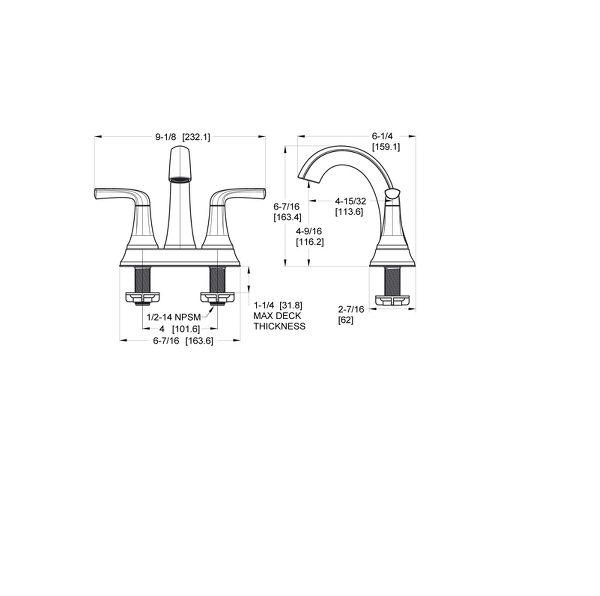 Spot Defense Brushed Nickel Ladera LF-048-LRGS 2-Handle 4