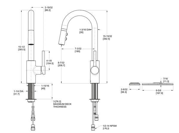 Polished Chrome Stellen LG572-SAC 1-Handle Pull-Down Bar