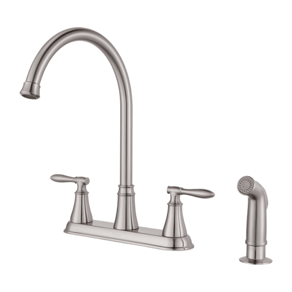 Stainless Steel Glenora F-036-4GNS 2-Handle Kitchen Faucet ...
