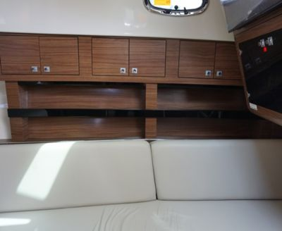Cabinets above settee