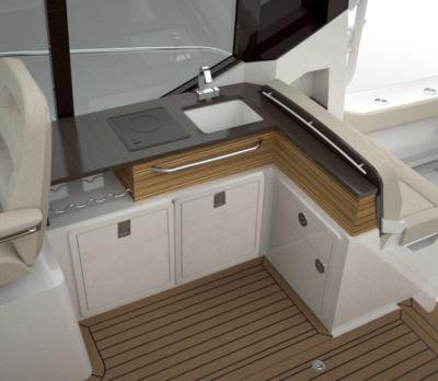 Refrigerator at helm deck wet bar