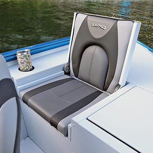 1875-1975 Renegade Starboard Aft Jump Seat Open shown with Gray Lund Guard Floor and Interior Option