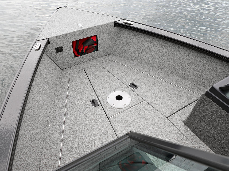 Fisherman Bow Deck Storage Compartments Closed (Shown with Full Vinyl Option)