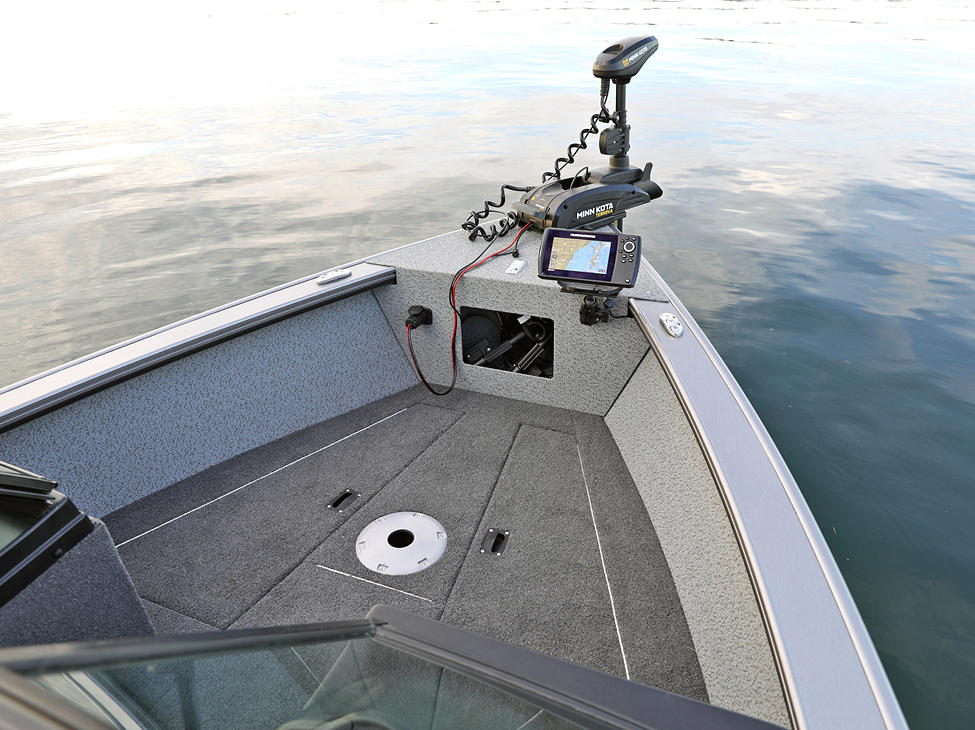 Fisherman Bow Deck Storage Compartments Closed (Shown with Vinyl Main Option)