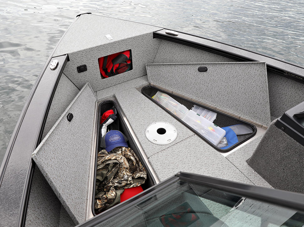 Fisherman Bow Deck Storage Compartments Open (Shown with Full Vinyl Option)