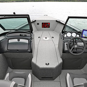 Fisherman Consoles with Walk-Way Hatch Open (Shown with Full Vinyl Option)