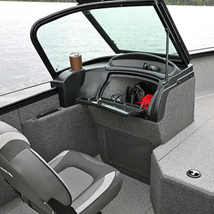 Fisherman Port Console with Glovebox Storage Compartment Open