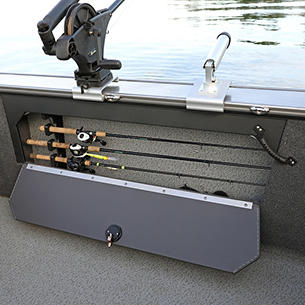 Fisherman Port Rod Storage Compartment Open (Shown with Optional Lockable Doors)