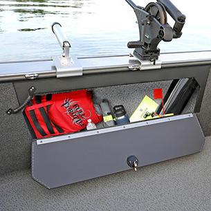 Fisherman Starboard Storage Compartment Open (Shown with Optional Lockable Door)