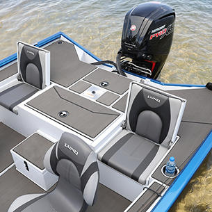 Renegade Aft Deck with Jump Seats Up shown with Optional Stick-On Marine Mat