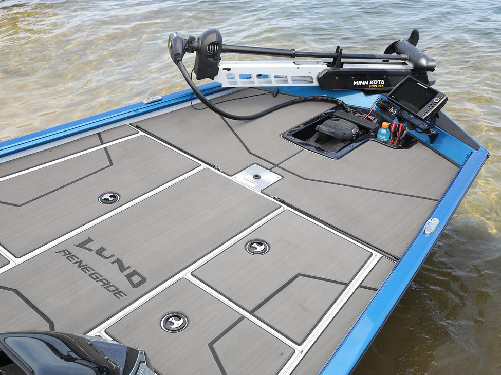 Renegade Bow Command Center shown with Optional Stick-On Marine Mat