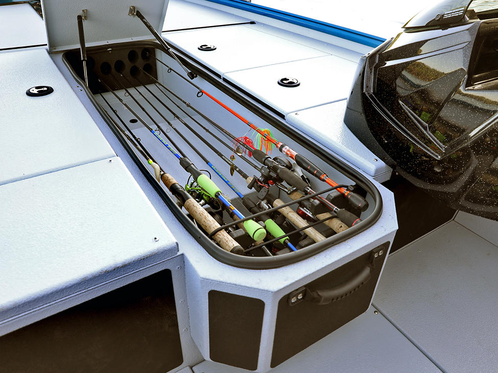 Renegade Bow Deck Lockable Rod Storage Compartment shown with Gray Lund Guard Floor and Interior Option